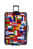 Suitcase with european flags isolated over white. Dark suitcase with european flags isolated over white background stock images