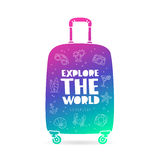 Suitcase. Explore the world. Godspeed. Suitcase with the inscription - Explore the world, Godspeed, and summer icons. Trend lettering. Vector illustration on stock illustration
