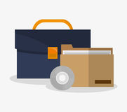 Suitcase and file of office and work design Royalty Free Stock Photos