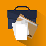 Suitcase and file of office and work design Stock Image