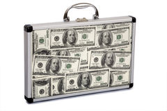 Suitcase filled dollars Stock Images