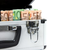 Suitcase filled with euro banknotes Royalty Free Stock Photography