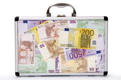 Suitcase filled euro-notes Stock Photography