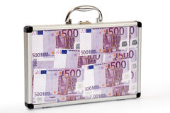 Suitcase filled euro-notes Royalty Free Stock Photos