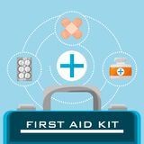 Suitcase first aid kit with medical tools. Vector illustration Stock Photos