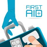 Suitcase first aid kit with medical tools. Vector illustration Stock Image