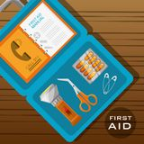 Suitcase first aid kit with medical tools. Vector illustration Stock Images
