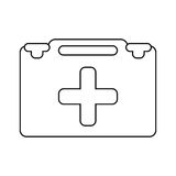 Suitcase first aid medical thin line. Vector illustration eps 10 Royalty Free Stock Photo