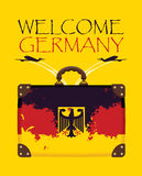 Suitcase with the flag of Germany and planes Stock Photo