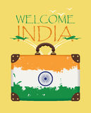 Suitcase with the flag of India and planes Royalty Free Stock Photos