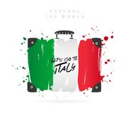 Suitcase with the flag of Italy. Lettering vector illustration