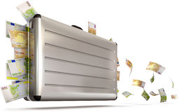 Suitcase with flying money Royalty Free Stock Photo