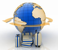 Suitcase in front of Earth globe and arrow Royalty Free Stock Photo