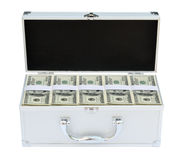 Suitcase full of American money. On the white background Stock Images
