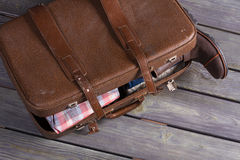 Suitcase full of men's clothing. Royalty Free Stock Photography