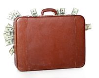 Suitcase is full of money Stock Photos