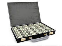 Suitcase full of money. 3D render Stock Images