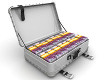 Suitcase full of money. A suitcase filled with bundles of euros. Isolated. 3D Illustration Stock Photo