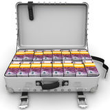 Suitcase full of money. A suitcase filled with bundles of euros. Isolated. 3D Illustration Royalty Free Stock Image