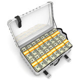 Suitcase full of money. A suitcase filled with bundles of US dollars. . 3D Illustration Royalty Free Stock Photo