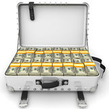 Suitcase full of money. A suitcase filled with bundles of US dollars. Isolated. 3D Illustration Royalty Free Stock Photo