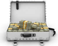 Suitcase full of money. A suitcase filled with bundles of US dollars. Isolated. 3D Illustration Royalty Free Stock Photos