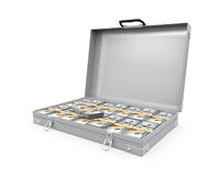 Suitcase Full of Money. Isolated on white background. 3D render Royalty Free Stock Photo