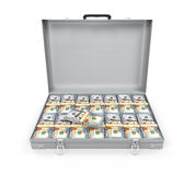 Suitcase Full of Money. Isolated on white background. 3D render Stock Photo