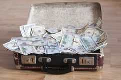 A suitcase full of money. A suitcase full of U.S. Dollar as background Royalty Free Stock Photo