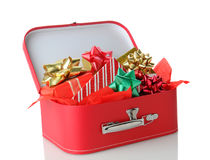 Suitcase Full of Presents Stock Photo