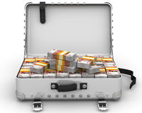 Suitcase full of Russian money Royalty Free Stock Photo