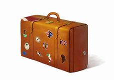 Suitcase full of travel stickers Stock Photos