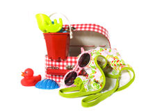 Suitcase for girls on vacation. Suitcase with travel items for girls isolated Royalty Free Stock Images