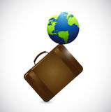Suitcase and globe illustration design Royalty Free Stock Photos