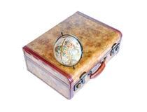 Suitcase and globe on white background royalty free stock image