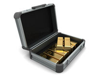 Suitcase with gold Stock Image
