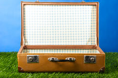 Suitcase on grass Stock Images