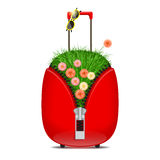 Suitcase with grass and flowers. Red suitcase with big zipper, with grass and flowers inside and sunglasses on handle Stock Photography