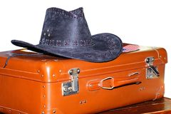 Suitcase with hat Stock Image