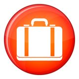 Suitcase icon, flat style. Suitcase icon in red circle isolated on white background vector illustration Royalty Free Stock Images