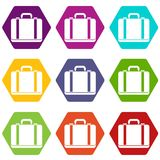 Suitcase icon set color hexahedron Stock Image