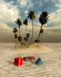 suitcase and island Stock Image