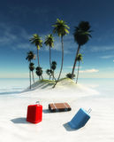 suitcase and island Royalty Free Stock Images