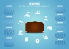 Suitcase with kind of holiday icons Royalty Free Stock Photography