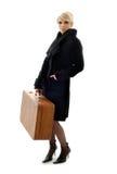 Suitcase lady Stock Photography