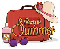 Suitcase with Lady Hat, Sunglasses and Sunscreen Lotion for Summer, Vector Illustration Royalty Free Stock Images