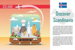Suitcase with landmarks of Iceland stock illustration
