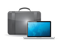 Suitcase and laptop illustration design Royalty Free Stock Photography