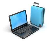 Suitcase and laptop Stock Images
