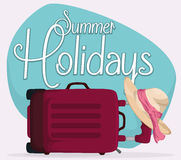 Suitcase Lay Down with Elegant Hat and Summer Holidays Sign, Vector Illustration. Purple travel bag lay down in the floor holding a elegant hat with pink ribbon Royalty Free Stock Photography